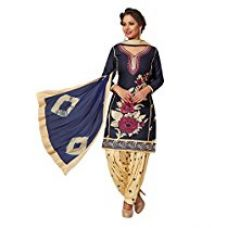 Ishin Cotton Purple & Beige Embroidered Unstitched Dress Material for Rs. 1,500