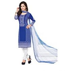 Ishin French Crepe Blue & White Printed Bollywood Unstitched Dress Material for Rs. 424