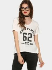 Abof Women White Printed CPD Regular Fit T-shirt for Rs. 695