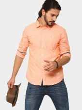 Abof Men Peach-colored Slim Fit Casual Shirt for Rs. 1,295