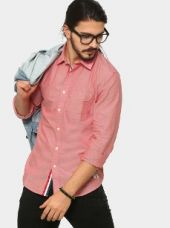 Abof Men Coral Red Slim Fit Casual Shirt for Rs. 1,195