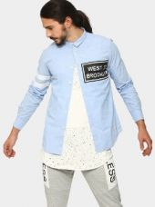 Abof Men Light Blue Printed Slim Fit Casual Shirt for Rs. 1,495