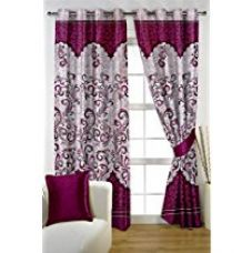 Buy HOMEC Trendy Printed Curtain Set of 2 (Size - Door 46 X 84 inch/Color - Purple) from Amazon