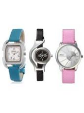 Buy Oleva Ladies Multicolor Set Of 3 Leather Watches ( for Rs. 699
