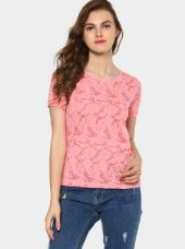 Buy Bossini Women Pink Floral Burnout Slim Fit T-shirt from Abof