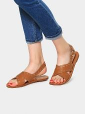 Buy abof Women Brown Embellished Sandals from Abof