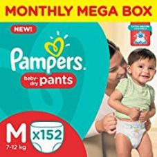 Pampers Medium Size Diaper Pants Monthly Box Pack (152 Count) for Rs. 1,439
