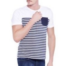 Get 64% off on Stylogue White Stripes Casual T Shirt For Men