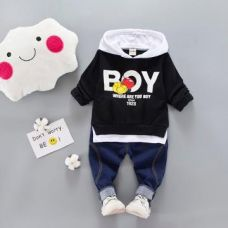 Buy Black Boy Print Hooded T-Shirt And Jeans Set from Hopscotch