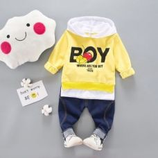 Yellow Boy Print Hooded T-Shirt And Jeans Set for Rs. 649