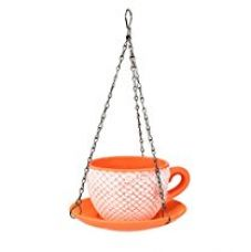 Buy @home Ceramic Cup Saucer Hanging Planter (20 cm x 20 cm x 30 cm, Orange) from Amazon