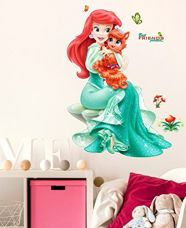 Buy Decals Design Pretty Princes with Cute Little Cat PVC Vinyl Wall Decal (70 cm x 50 cm x 70 cm, Multicolour) from Amazon