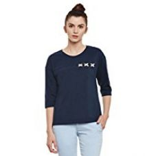 Buy Miss Chase Womens Navy Blue Basic Top from Amazon
