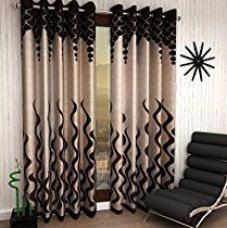 Home Sizzler 4 Piece Eyelet Polyester Door Curtain - 7ft, Brown for Rs. 999