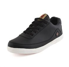 Buy AORFEO Black Leather Look Sneaker Shoe Shoes CX64 from Amazon