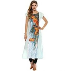 Ziyaa Women's Multicolor Printed Straight Crepe Kurta (ZIKUCR1744) for Rs. 510