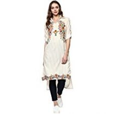 Ziyaa Women's Multicolor Striped Straight Crepe Kurta (ZIKUCR1853) for Rs. 637