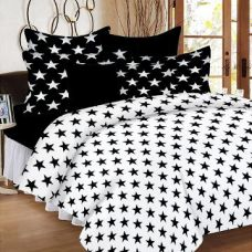 Flat 54% off on 100% Cotton Double Bedsheet With 2 Pillow Cover- Black & White