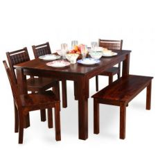 Buy Trelis Six Seater Dining Set in Honey Color from Fabfurnish