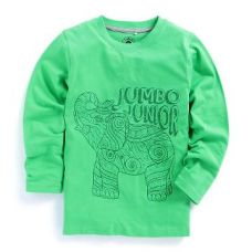 Buy Green Elephant Print Full Sleeve T-Shirt from Hopscotch