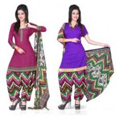 Khushali Presents Crepe Two Top Style Dress Material(dark Pink,purple) for Rs. 470