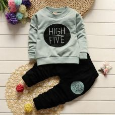 Green High Five Print T-Shirt And Pant Set for Rs. 629