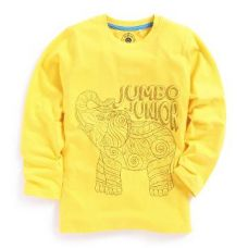 Yellow Elephant Print Full Sleeve T-Shirt for Rs. 299