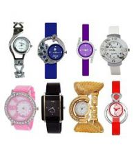 Satnam Fashion Multi Color Pack of 8 Analog Watches for Girls for Rs. 779