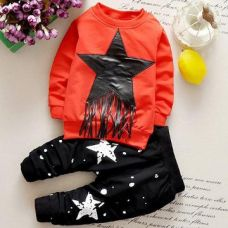 Buy Funky Red Star Design T-Shirt And Cropped Pant Set from Hopscotch