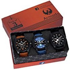 Buy Armado Analog Combo Of 3 Analogue Blue:Black Dial Watches For Men - Ar-621251 from Amazon