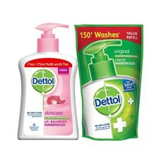 Dettol Liquid Handwash (Skincare) - 200 ml with Free Liquid Handwash - 175 ml (Any Variant) for Rs. 95