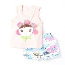 Flat 58% off on Cute Doll Print Tee And Shorts Set - Pink