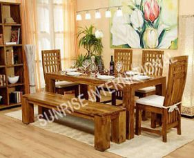 Buy Stylish Wooden Dining Table / Chair / Bench Furniture Set (Sun-Dset148/149) for Rs. 16,470
