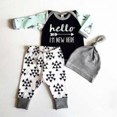 Hello Print Black T-Shirt and Pants with Cap Set for Rs. 549