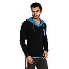 Flat 73% off on V3Squared Black Blue Cotton Hooded T-Shirts For Mens