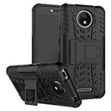 Moto C Plus Back Cover Case [eCosmos Official], Hybrid Armor Design Detachable and Stand-up Feature Dual Layer Protective Shell Hard Back Cover Case Motorola Moto C Plus - Space Black for Rs. 319