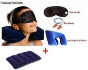 Get 77% off on Travelling Combo Of Travel Air Pillow, Neck Relax Pillow, Eye Mask And Ear Buds.
