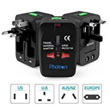 Buy Photron TRAD75 Universal Worldwide Travel Charger Adapter Plug With Built-in Surge Protector All in One Travel Power Outlet Adapter Wall Changer Adaptor Works in 150 Countries EU UK US AU with Pouch, Black from Amazon