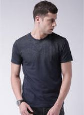 Buy Navy Blue Printed Round Neck T-Shirt from jabong