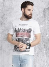 Flat 50% off on White Printed Regular Fit Round Neck T-Shirt