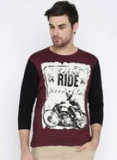 Wine Printed Round Neck T-Shirt for Rs. 260