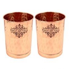 Buy IndianArtVilla Hammered Copper Glass Tumbler,Drinkware & Tableware, 300 ML each, Set of 2 from Amazon