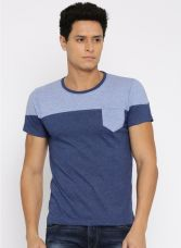Navy Blue Solid Round Neck T-Shirt for Rs. 260