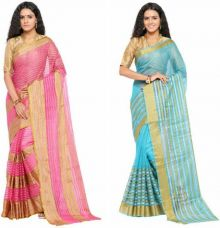 Get 86% off on sarvagny clothing Woven Kanjivaram Kota Cotton Saree  (Pack of 2, Pink, Blue)