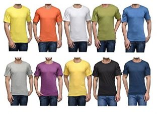 Buy Devil Pack Of 10 Casual Multicoloured Round Neck Plain T-Shirts from Amazon