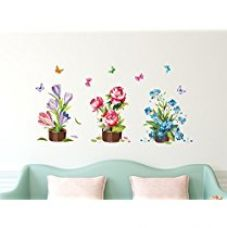 Solimo Wall Sticker for Living Room (Flower bouquets, ideal size on wall ,  120 cm X 60 cm) for Rs. 189