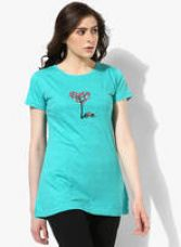 Buy Aqua Blue Printed T Shirt for Rs. 250