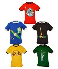 Buy Gkidz Multicolour Cotton T Shirt For Boys - Pack of 5 for Rs. 652