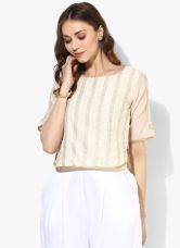 Get 40% off on Biba Off White Printed Poly Cotton Blouse