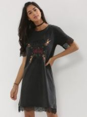 Get 40% off on BEYOND CLOUDS Slogan Print Lace Hem Tee Dress